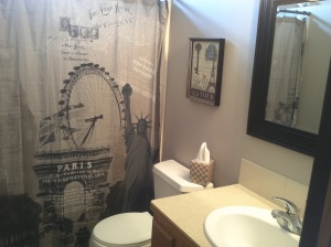 The entire bathroom was done around the shower curtain.