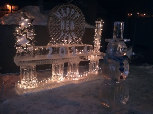 Ice sculptures in Lakeside Village.