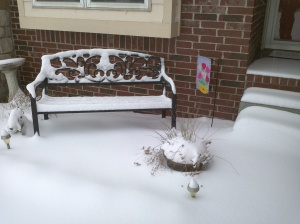 A partial view of the front steps of my house. You can't see the bottom step at all due to the snow!