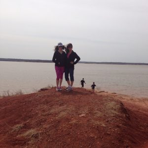 Malena and I at Arcadia Lake. It was very windy!