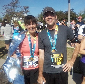 My hubby and I after the race sporting our finisher medals. We did it!