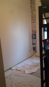 Before with walls taped off.