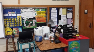 My teacher desk and technology corner. Don't know what I'd do without my SmartBoard and document camera!