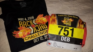 My challenge t-shirt with my race bib.