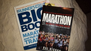 My training manuals. Great information! I followed Hal Higdon's beginner marathon training plan.