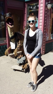 My daughter insisted on having her picture taken outside of a shop in Breck with this fine fellow.
