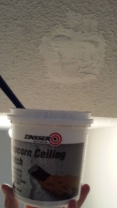 I used this leftover stuff from fixing the hole in the bathroom ceiling and then I did the Kilz paint.